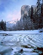 El Capitan and the Merced River in Winter,Yosemite National Park, California