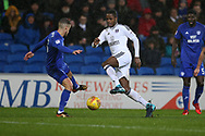 Ryan Sessegnon of Fulham © in action . EFL Skybet championship match, Cardiff city v Fulham at the Cardiff city stadium in Cardiff, South Wales on Boxing Day, Tuesday 26th December 2017.<br /> pic by Andrew Orchard, Andrew Orchard sports photography.