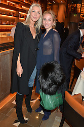Left to right, SAM EDGE and ALICIA LUBRANI at the Cash & Rocket Tour Announcement Launch Lunch in association with McArthur Glen was held at The Grill, The Dorchester, Park Lane, London on 12th March 2015.