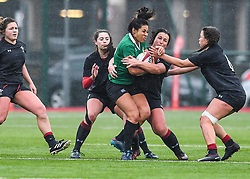 Ireland women's Sene Naoupu is tackled by Wales women's Siwan Lillicrap<br /> <br /> Photographer Craig Thomas/Replay Images<br /> <br /> International Friendly - Wales women v Ireland women - Sunday 21th January 2018 - CCB Centre for Sporting Excellence - Ystrad Mynach<br /> <br /> World Copyright © Replay Images . All rights reserved. info@replayimages.co.uk - http://replayimages.co.uk