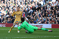 Dele Alli of Tottenham Hotspur is denied by a save from West Brom goalkeeper Ben Foster . Premier league match, West Bromwich Albion v Tottenham Hotspur at the Hawthorns stadium in West Bromwich, Midlands on Saturday 15th October 2016. pic by Andrew Orchard, Andrew Orchard sports photography.