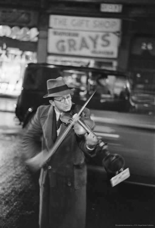 Street Musician Flaying Violin, London, 1945