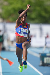 August 12, 2018 - Toronto, ON, U.S. - TORONTO, ON - AUGUST 12: Odrine Belot (Haiti), triple jump at the 2018 North America, Central America, and Caribbean Athletics Association (NACAC) Track and Field Championships on August 12, 2018 held at Varsity Stadium, Toronto, Canada. (Photo by Sean Burges / Icon Sportswire) (Credit Image: © Sean Burges/Icon SMI via ZUMA Press)