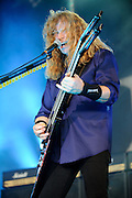 Megadeth performing on the Mayhem Festival at Verizon Wireless Amphitheater in St. Louis, Missouri on July 19, 2011. © Todd Owyoung.