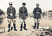 three French Foreign Legion army officers posing 1930s Morocco