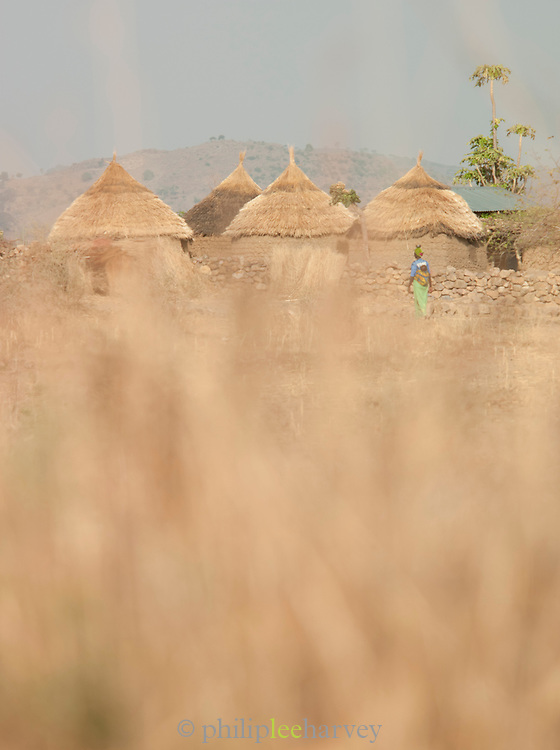 A group of huts lie on the outskirts of the village of Rhumsiki in the north of Cameroon