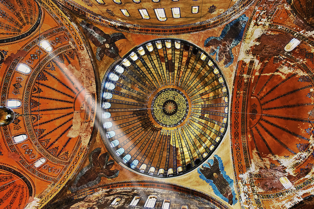 The Islamic decoration on the domes of the interior of Hagia Sophia ( Ayasofya ) , Istanbul, Turkey .<br /> <br /> If you prefer to buy from our ALAMY PHOTO LIBRARY  Collection visit : https://www.alamy.com/portfolio/paul-williams-funkystock/istanbul.html<br /> <br /> Visit our TURKEY PHOTO COLLECTIONS for more photos to download or buy as wall art prints https://funkystock.photoshelter.com/gallery-collection/3f-Pictures-of-Turkey-Turkey-Photos-Images-Fotos/C0000U.hJWkZxAbg