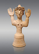 Minoan Postpalatial terracotta  goddess statue with raised arms and a crown of snakes, Kannia Sanctuary,  Gortys, 1350-1250 BC, Heraklion Archaeological Museum, grey background. <br /> <br /> The Goddesses are crowned with symbols of earth and sky in the shapes of snakes and birds, describing attributes of the goddess as protector of nature. .<br /> <br /> If you prefer to buy from our ALAMY PHOTO LIBRARY  Collection visit : https://www.alamy.com/portfolio/paul-williams-funkystock/minoan-art-artefacts.html . Type -   Heraklion   - into the LOWER SEARCH WITHIN GALLERY box. Refine search by adding background colour, place, museum etc<br /> <br /> Visit our MINOAN ART PHOTO COLLECTIONS for more photos to download  as wall art prints https://funkystock.photoshelter.com/gallery-collection/Ancient-Minoans-Art-Artefacts-Antiquities-Historic-Places-Pictures-Images-of/C0000ricT2SU_M9w