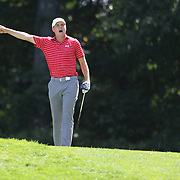 Jordan Spieth, USA, signals a wayward tee shot during the second round of The Barclays Golf Tournament at The Plainfield Country Club, Edison, New Jersey, USA. 28th August 2015. Photo Tim Clayton