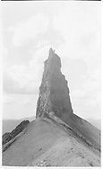 """A close-up view of Lizard Head Peak before the top broke off on Dec. 28, 1911.<br /> RGS  Lizard Head, CO  Taken by Virden, Walter - before 12/29/1911<br /> In book """"Rio Grande Southern II, The: An Ultimate Pictorial Study"""" page 48"""