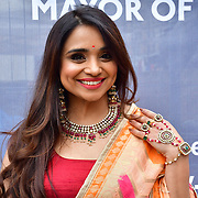 Dimple Sanghani attends Mayor of London celebrates the Festival of Lights with Diwali in Trafalgar Square festival of lights, which is celebrated by Hindu, Sikh and Jain communities across London and around the world, will see the square come alive with music and dance, food and drink, market stalls and creative activities for the whole family on 3 November 2019, London, UK. Photo Creidt: Picture Capital