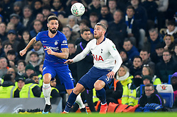 January 24, 2019 - London, England, United Kingdom - Tottenham defender Toby Alderweireld watches the ball carefully as Chelsea forward Olivier Giroud homes in during the Carabao Cup match between Chelsea and Tottenham Hotspur at Stamford Bridge, London on Thursday 24th January 2019. (Credit Image: © Mark Fletcher/NurPhoto via ZUMA Press)