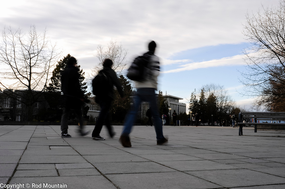 Students walking across the plaza near Walter C. Koerner Library at the University of British Columbia.