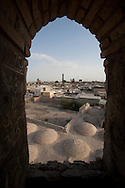 general view on the old city and the minaret of the moque Kalon from the minaret of Gaukushan mosque  Boukhara  Ouzbekistan  .///.vue generale sur la vieille ville et le minaret de la mosquee Kaloun depuis le minaret de la  Gaukushan    Boukara  Ouzbekistan .///.OUZB56330