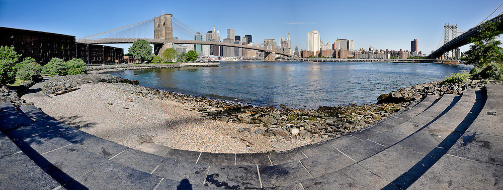 Panoramic view of the stairs at Empire Fulton Ferry State Park with the Brooklyn Bridge and the Manhattan Bridge on each side, DUMBO, Brooklyn, New York, 2009.