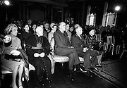 19/05/1966<br /> 05/19/1966<br /> 19 May 1966<br /> President Eamon de Valera receives Honorary Doctorate from the University of Louvain, Belgium at a conferring ceremony at the Department of External Affairs in Dublin. Picture shows a view of some of the attendees at the conferring including Archbishop Joseph Walsh of Tuam and Mr. Frank Aiken T.D., MInister for external affairs.