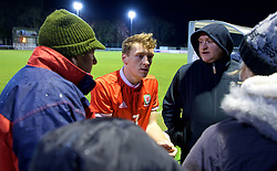 BANGOR, WALES - Tuesday, November 20, 2018: Wales' Luke Jephcott speaks with family members after a 2-0 victory over San Marino in the UEFA Under-19 Championship 2019 Qualifying Group 4 match between Wales and San Marino at the Nantporth Stadium. (Pic by Paul Greenwood/Propaganda)