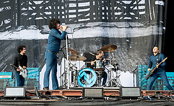 Cedric Bixler-Zavala of At The Drive-In performing live on stage on day 3 of Leeds Festival a Bramham Park, UK. Picture date: Sunday 27 August, 2017. Photo credit: Katja Ogrin/ EMPICS Entertainment.
