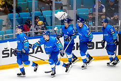 Players of Kazakhstan celebrate during ice hockey match between South Korea and Kazakhstan at IIHF World Championship DIV. I Group A Kazakhstan 2019, on May 2, 2019 in Barys Arena, Nur-Sultan, Kazakhstan. Photo by Matic Klansek Velej / Sportida