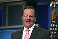 Robert Gibbs, White House Press Secretary takes questions in the White House Press Briefing room on January 27, 2009.  Photo by Dennis Brack