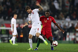 November 20, 2018 - Guimaraes, Guimaraes, Portugal - Mateusz Klich midfielder of Poland (L) in action with William Carvalho midfielder of Portugal (R) during the UEFA Nations League football match between Portugal and Poland at the Dao Afonso Henriques stadium in Guimaraes on November 20, 2018. (Credit Image: © Dpi/NurPhoto via ZUMA Press)