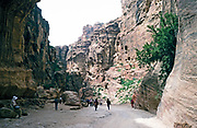 Tourists walking down to the main archaeological site at Petra, Jordan in 1998