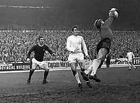 Colin Addison (Arsenal) left, is foiled by Gary Sprake and Terry Cooper (Leeds) <br /> Leeds United v Arsenal;  04/11/1967. <br /> Football<br /> Credit : Colorsport.