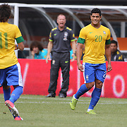 Hulk, Brazil, (right) and team mate Neymar under the watchful eye of coach Mano Menezes during the Brazil V Argentina International Football Friendly match at MetLife Stadium, East Rutherford, New Jersey, USA. 9th June 2012. Photo Tim Clayton