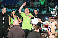 Michael van Gerwen prepares for his walk on during the Betway Premier League Darts Play-Offs at the O2 Arena, London, United Kingdom on 19 May 2016. Photo by Shane Healey.