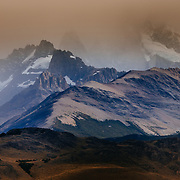 A storm over the peaks near Mount Fitz Roy in Los Glacieres National Park, Argentina.