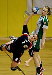 Zala Bojovic of Celje and Nusa Skutnik of Krka at handball Slovenian cup match for 3rd place between ZRK Krka Novo mesto and ZRK Celje Celjske mesnine, on March 28, 2010, SD Leon Stukelj, Novo mesto, Slovenia.  Krka defeated Celje 35-32. (Photo by Vid Ponikvar / Sportida)