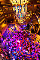 Character dance party, in the lobby atrium on the new Disney Dream cruise ship sailing between Florida and the Bahamas.