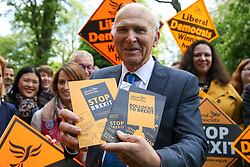 © Licensed to London News Pictures. 10/05/2019. London, UK. Leader of Liberal Democrats, Vince Cable holds the party manifesto in Camden, north London during the Liberal Democrats European Union election campaign. Britain must hold European Parliament elections on 23rd May 2019 or leave the European Union with no deal on 1st June 2019 after Brexit was delayed until 31st October 2019, as Prime Minister, Theresa May failed to get her Brexit deal approved by Parliament. Photo credit: Dinendra Haria/LNP