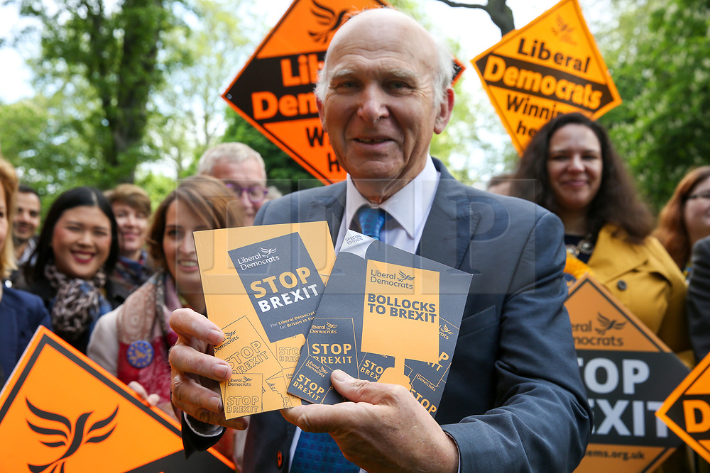 © Licensed to London News Pictures. 10/05/2019. London, UK. Leader of Liberal Democrats, Vince Cable holds the party manifesto in Camden, north London duringthe Liberal Democrats European Union election campaign. Britain must hold European Parliament elections on 23rd May 2019 or leave the European Union with no deal on 1st June 2019 after Brexit was delayed until 31st October 2019, as Prime Minister, Theresa May failed to get her Brexit deal approved by Parliament. Photo credit: Dinendra Haria/LNP