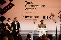 Julius Obwona spaeks after receiving the Tusk Wildlife Ranger Award from the Duke of Cambridge (left) during the Tusk Conservation Awards at Banqueting House, London.