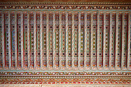 Berber arabesque painted wood ceiling.The Petite Court, Bahia Palace, Marrakesh, Morroco .<br /> <br /> Visit our MOROCCO HISTORIC PLAXES PHOTO COLLECTIONS for more   photos  to download or buy as prints https://funkystock.photoshelter.com/gallery-collection/Morocco-Pictures-Photos-and-Images/C0000ds6t1_cvhPo<br /> .<br /> <br /> Visit our ISLAMIC HISTORICAL PLACES PHOTO COLLECTIONS for more photos to download or buy as wall art prints https://funkystock.photoshelter.com/gallery-collection/Islam-Islamic-Historic-Places-Architecture-Pictures-Images-of/C0000n7SGOHt9XWI