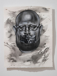April 26, 2018 - Tampa, Florida, U.S. - A charcoal portrait of Parkland victim Aaron Feis, by Symone Hall in the BFA show at the Scarfone/Hartley Gallery at the University of Tampa, on April 26, 2018 in Tampa, Fla. (Credit Image: © Monica Herndon/Tampa Bay Times via ZUMA Wire)
