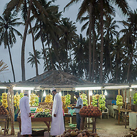 A roadside fruit stand in Salalah.