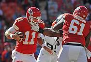 KANSAS CITY, MO - OCTOBER 27:  Linebacker Graig Robertson #53 of the Cleveland Browns reaches in on quarterback Alex Smith #11 of the Kansas City Chiefs during the second half on October 27, 2013 at Arrowhead Stadium in Kansas City, Missouri.  Kansas City won 23-17. (Photo by Peter Aiken/Getty Images) *** Local Caption *** Graig Robertson;Alex Smith