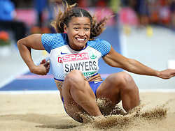Great Britain's Jazmin Sawyers competes in the Women's Long Jump Final during day five of the 2018 European Athletics Championships at the Olympic Stadium, Berlin. PRESS ASSOCIATION Photo. Picture date: Saturday August 11, 2018. See PA story ATHLETICS European. Photo credit should read: Martin Rickett/PA Wire. RESTRICTIONS: Editorial use only, no commercial use without prior permission