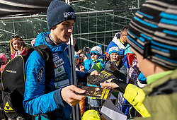 Peter Prevc of Slovenia with fans during the Trial Round of the Ski Flying Hill Individual Competition at Day 1 of FIS Ski Jumping World Cup Final 2019, on March 21, 2019 in Planica, Slovenia. Photo by Vid Ponikvar / Sportida