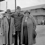 Harry Mozell, Al Mozell, Rosa Mozell, Camp Upton 1941, April