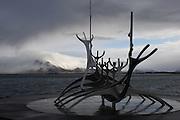 The Sun Voyager sculpture in Reykjavik, designed by Jón Gunnar Árnason, taken in March 2009.