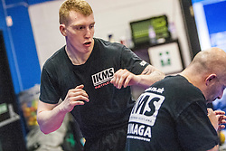 Alan Clark during the session. Stef Noij, KMG Instructor from the Institute Krav Maga Netherlands, kicking during the IKMS G Level Programme seminar today at the Scottish Martial Arts Centre, Alloa.