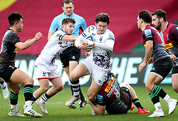 Piers O'Conor of Bristol Bears is tackled by Alex Dombrandt of Harlequins  - Mandatory by-line: Matt Impey/JMP - 26/12/2020 - RUGBY - Twickenham Stoop - London, England - Harlequins v Bristol Bears - Gallagher Premiership Rugby