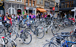 Bicycles parked in the Grote Markt, Bruges, Belgium<br /> <br /> (c) Andrew Wilson | Edinburgh Elite media