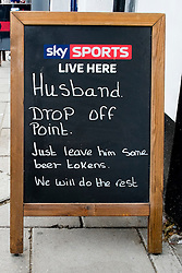 """Amusing """"Husband Drop Off Point"""" Sign on the street outside the 'Book in Hand' Pub at Mablethorpe<br />  04 October 2015<br />  Image © Paul David Drabble <br />  www.pauldaviddrabble.co.uk"""