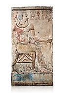 Ancient Egyptian stele of Piamon who drowned in the Nile and was deified like Osiris, Ptlomemaic Period (332-30 BC),  Egyptian Museum, Turin. White background,, Old Fund cat 1556. .<br /> <br /> If you prefer to buy from our ALAMY PHOTO LIBRARY  Collection visit : https://www.alamy.com/portfolio/paul-williams-funkystock/ancient-egyptian-art-artefacts.html  . Type -   Turin   - into the LOWER SEARCH WITHIN GALLERY box. Refine search by adding background colour, subject etc<br /> <br /> Visit our ANCIENT WORLD PHOTO COLLECTIONS for more photos to download or buy as wall art prints https://funkystock.photoshelter.com/gallery-collection/Ancient-World-Art-Antiquities-Historic-Sites-Pictures-Images-of/C00006u26yqSkDOM