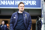 AFC Wimbledon manager Neal Ardley walking out onto pitch during the The FA Cup 3rd round match between Tottenham Hotspur and AFC Wimbledon at Wembley Stadium, London, England on 7 January 2018. Photo by Matthew Redman.