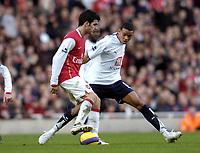 Photo: Olly Greenwood.<br />Arsenal v Tottenham Hotspur. The Barclays Premiership. 02/12/2006. Arsenal's Francesc Fabregas and Tottenham's Jermaine Jenas